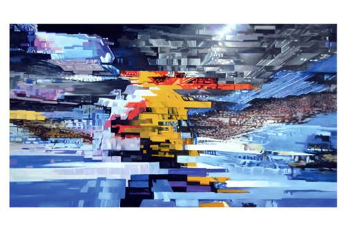 Perturbazione  25 -   2019 olio su tela cm. 40 x 70