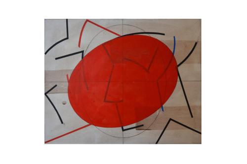 Da Boccioni - Rosso 2020  collage e tempera all'uovo su carta cm. 56 x 52